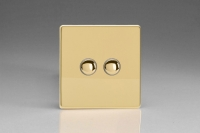 Varilight 2 Gang 6 Amp Push-on/off Impulse Switch Screwless Polished Brass