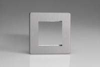 Varilight 2 Gang Data Grid Face Plate For 2 Data Module Widths Screwless Brushed Steel
