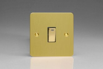 Varilight 1 Gang 20 Amp Double Pole Switch with Neon Ultra Flat Brushed Brass Effect Finish