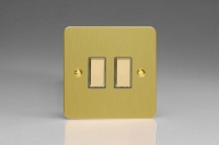 V-Pro Multi Point Tactile Touch Slave (MP Slave) Series 2 Gang Unit for use with V-Pro Multi Point Remote Master Dimmers Ultra Flat Brushed Brass