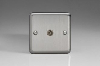 Varilight 1 Gang Co-axial TV Socket Classic Matt Chrome Finish (Brushed Steel Effect)