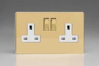 Varilight 2 Gang 13 Amp Double Pole Switched Socket Screwless Polished Brass Coated