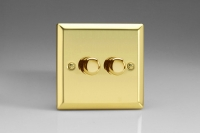 Varilight V-Pro Series 2 Gang 0-120W Trailing Edge LED Dimmer Victorian Brass
