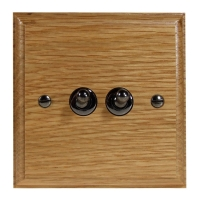 Wood 2 Gang 2Way 10Amp Toggle Switch in Solid oak