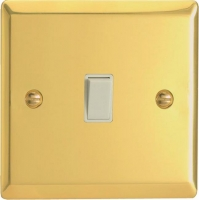 Varilight 1 Gang 10 Amp Push-to-make, Bell Push, Retractive White Switch Classic Victorian Brass