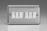 Varilight 6 Gang 10 Amp Switch Classic Brushed Steel