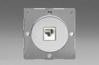 Varilight European Brushed Steel VariGrid 1 Gang RJ45 Cat 5e White Data Socket