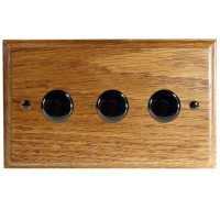 Wood 3 Gang 2Way Push on/Push off 3 x 250W/VA Dimmer Switch in Solid Medium Oak with Black Nickel Dimmer Cap