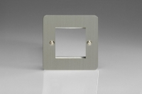 Varilight 2 Gang Data Grid Face Plate For 2 Data Module Widths Ultra Flat Brushed Steel