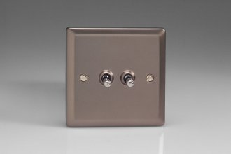 Varilight 2 Gang 10 Amp Toggle Switch Classic Pewter Effect Finish