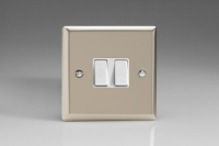 Varilight 2 Gang Comprising of 1 Intermediate (3 Way) and 1 Standard (1 or 2 Way) 10 Amp Switch Classic Satin Chrome