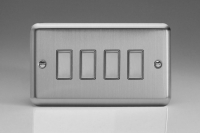 V-Pro Multi Point Tactile Touch Slave (MP Slave) Series 4 Gang Unit for use with V-Pro Multi Point Remote Master Dimmers Brushed Steel