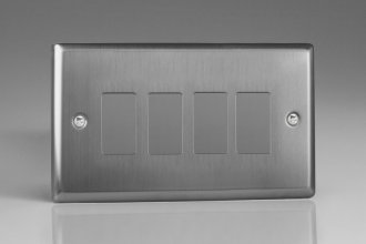 Varilight 4 Gang Power Grid Faceplate Including Power Grid Frame Classic Brushed Steel