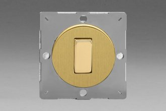 Varilight European Brushed Brass VariGrid 1 Gang 3 Way 10A Rocker Switch