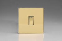 Varilight 1 Gang 20 Amp Double Pole Switch with Neon Screwless Polished Brass