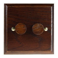 Wood 2 Gang 2Way Push on/Push off 2 x 250W/VA LED Dimmer in Solid Dark Oak