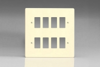 Varilight 8 Gang Power Grid Faceplate Including Power Grid Frames Dimension White Chocolate