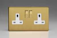 Varilight 2 Gang 13 Amp Double Pole Switched Socket Screwless Brushed Brass