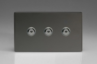 Varilight V-Pro IR Series 3 Gang 0-100 Watts Master Trailing Edge LED Dimmer Screwless Iridium Black