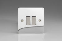 Varilight 2 Gang Comprising of 2 Intermediate (3 Way) 10 Amp Switch Ultra Flat Polished Chrome
