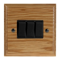 Wood 3 Gang 2Way 10Amp Rocker Switch in Solid Oak
