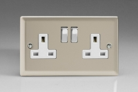 Varilight 2 Gang 13 Amp Double Pole Switched Socket Classic Satin Chrome
