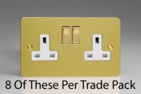 Varilight 2 Gang 13 Amp Double Pole Switched Socket, Trade Pack of 8 Sockets Ultra Flat Brushed Brass