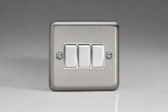 XS3W Varilight 3 Gang, 1 or 2 Way 10 Amp Switch, Classic Brushed Steel