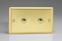 Varilight V-Plus IR Series 2 Gang 40-600 Watt Touch and Remote Dimmer Victorian Brass
