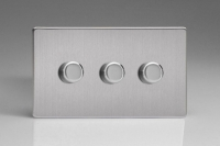 Varilight V-Com Series 3 Gang 15-180 Watt Leading Edge LED Dimmer Screwless Brushed Steel
