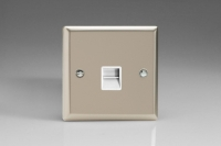 Varilight 1 Gang White Telephone Master Socket Classic Satin Chrome