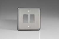 XSPG2-P+ Varilight 2 Gang Brushed Steel Faceplate including 2 Gang Power Grid Frame