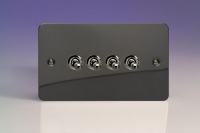Varilight 4 Gang 10 Amp Toggle Switch Ultra Flat Iridium Black