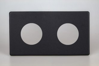 Varilight European VariGrid Double faceplate with a 2 hole cut-out in Matt Black