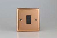 Varilight 1 Gang 20 Amp Double Pole Switch with Neon Classic Polished Copper