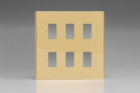 Varilight 6 Gang Power Grid Faceplate Including Power Grid Frames Dimension Polished Brass