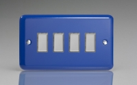 Varilight V-Pro Multi Point Tactile Touch Slave (MP Slave) Series 4 Gang Unit for use with V-Pro Multi Point Remote Master Dimmers Reflex Blue