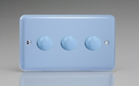 Varilight V-Com Series 3 Gang 15-180 Watt Leading Edge LED Dimmer Duck Egg Blue