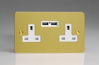 Varilight 2 Gang 13 Amp Single Pole Unswitched Socket with 2 Optimised USB Charging Ports Ultra Flat Brushed Brass