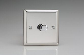 Varilight V-Com Series 1 Gang 0-100 Watt Leading Edge LED Dimmer Classic Polished Chrome Coated
