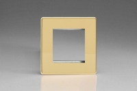 Varilight 2 Gang Data Grid Face Plate For 2 Data Module Widths Screwless Polished Brass