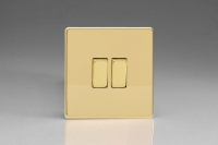 Varilight 2 Gang Comprising of 1 Intermediate (3 Way) and 1 Standard (1 or 2 Way) 10 Amp Switch Screwless Polished Brass