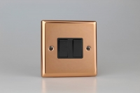 Varilight 2 Gang 10 Amp Switch Classic Polished Copper