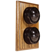 2 Gang Vertical Bakelite Switch, Brown Dolly On A Solid Medium Oak Base
