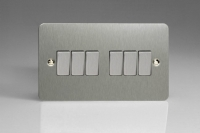 Varilight 6 Gang 10 Amp Switch Ultra Flat Brushed Steel