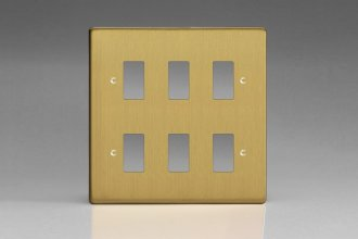 Varilight 6 Gang Power Grid Faceplate Including Power Grid Frames Dimension Brushed Brass Effect Finish
