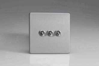 Varilight 3 Gang 10 Amp Toggle Switch Screwless Brushed Steel