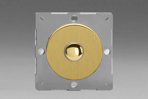 Varilight European Brushed Brass VariGrid 1 Gang 1 Way Only 6A Push Momentary Switch
