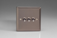 Varilight 3 Gang 10 Amp Toggle Switch Classic Pewter