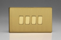 Varilight 4 Gang 10 Amp Switch Screwless Brushed Brass